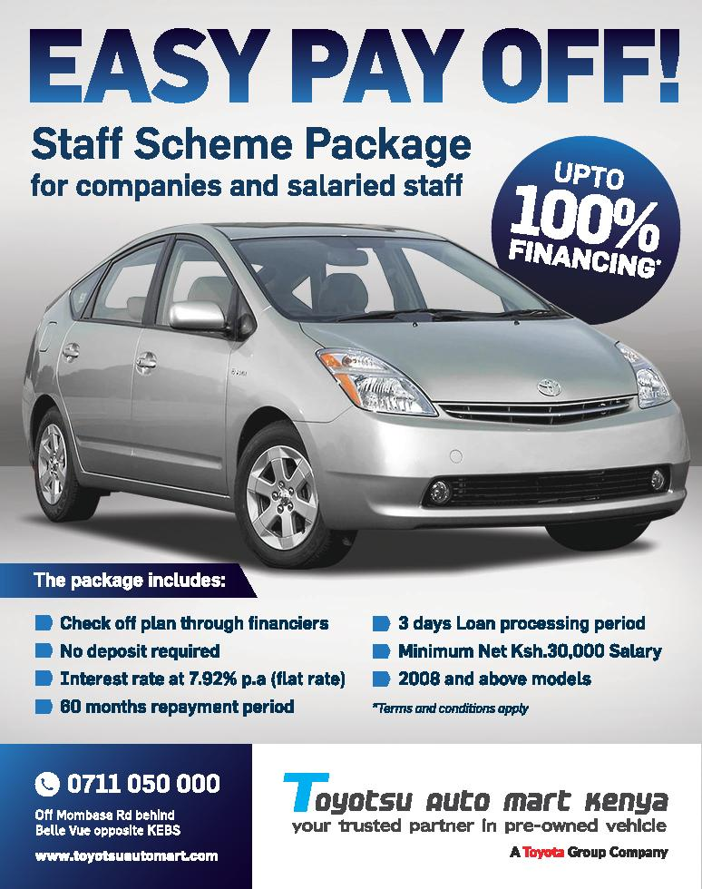 We would like to push for staff schemes through Family banks 100% financing, with no deposit, so that companies can direct their staff to buy vehicles with us at this amazing rates. Individuals can also access this opportunity incase they do not want to purchase through their employers and the rates will still be the same.